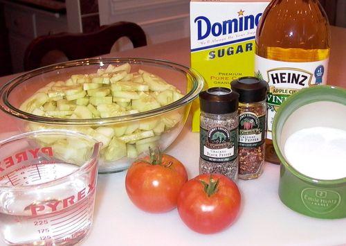 Pickled Garden Cucumber, Onion & Tomato Salad (Ingredients)