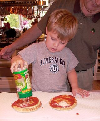 Pita Pizza #6 (Putting on Cheese