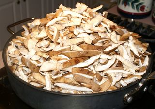 Shiitake Mushrooms #5 (Sliced & Heaped in Pan)