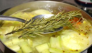 Vegetable Stock #4 (Removing the Rosemary)