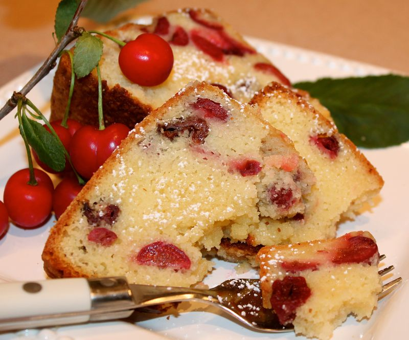 My Buttery Sour-Cream Sour-Cherry Pound-Cake ~ - Kitchen Encounters