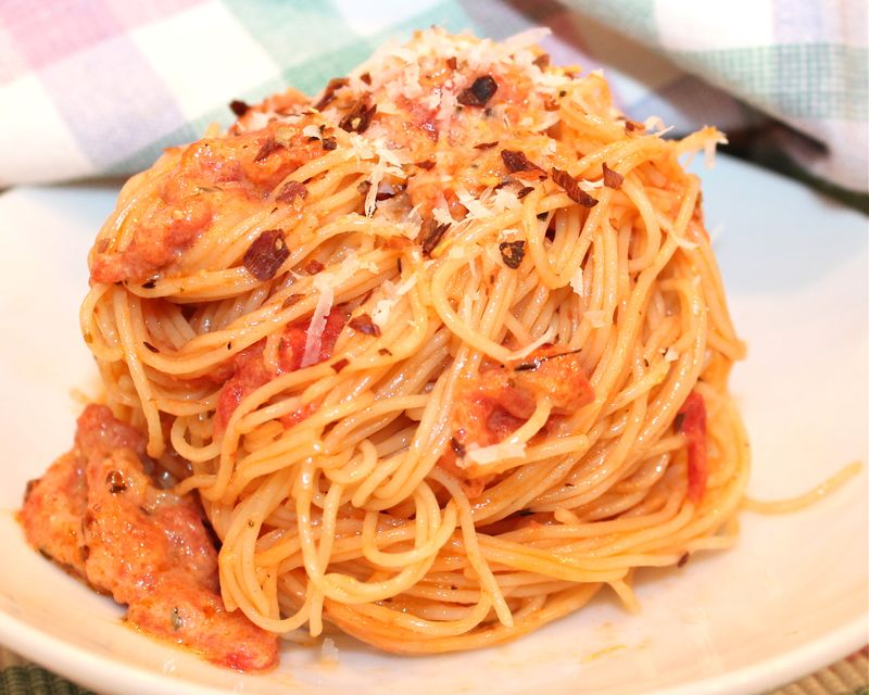 Angel Hair Pasta With Spicy Vodka Sauce Recipe — Dishmaps