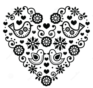 Folk-art-valentine-s-day-heart-love-wedding-birthday-greetings-card-vector-black-flowers-birds-isolated-white-72340859